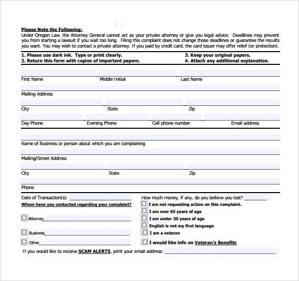 Sample Consumer Complaint Form Sample Customer Complaint Letter - sample consumer complaint form