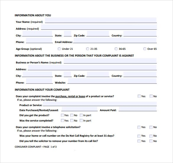 Consumer Form Submit A Consumer Complaint To The Ftc Federal - sample patient complaint form