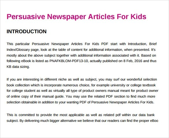 7 Newspaper Templates for Kids for Free Download Sample Templates