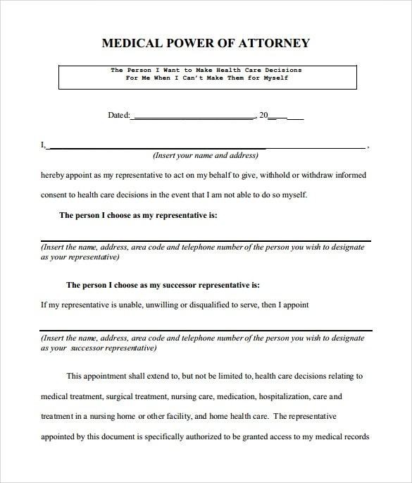 8+ Medical Power of Attorney Form \u2013 Samples ,Examples  Format - Medical Power Of Attorney Form