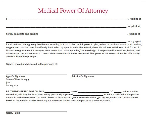 8 Medical Power Of Attorney Form Samples Examples