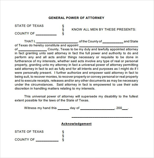 7 General Power of Attorney Forms \u2013 Samples, Examples  Formats - general power of attorney form