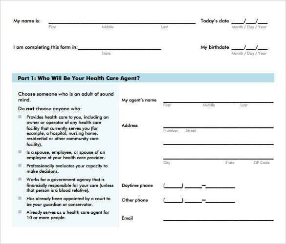 Health Care Power of Attorney Form\u2013 8+ Free Samples, Examples  Formats