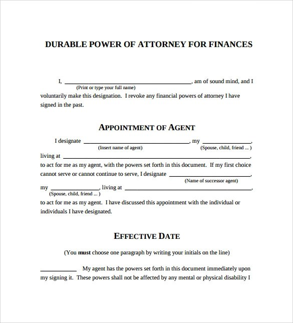 sample durable power of attorney form - simple power of attorney form example