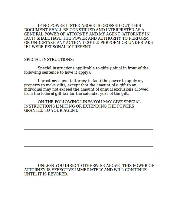 Durable Power of Attorney Forms - 7+ Free Samples, Examples \ Formats - general power of attorney forms