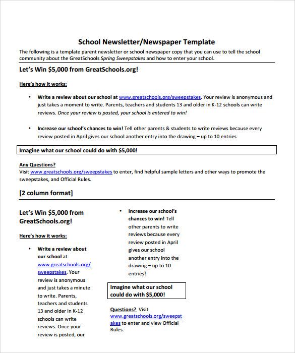 Sample School Newspaper - 5+ Documents In PDF, Word