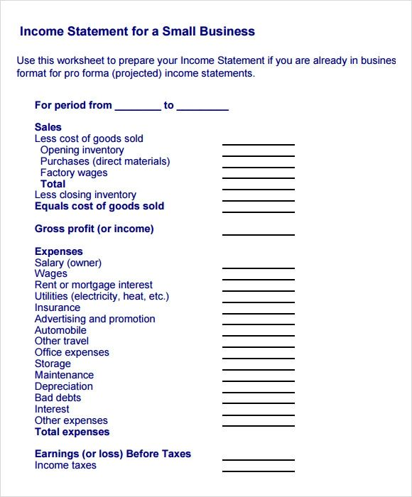 business income statement example