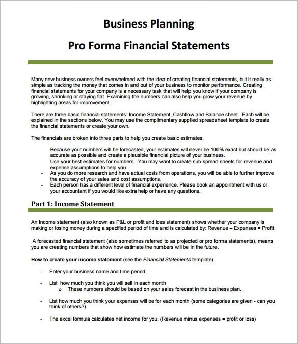 10 ProForma Income Statement Templates to Download Sample Templates