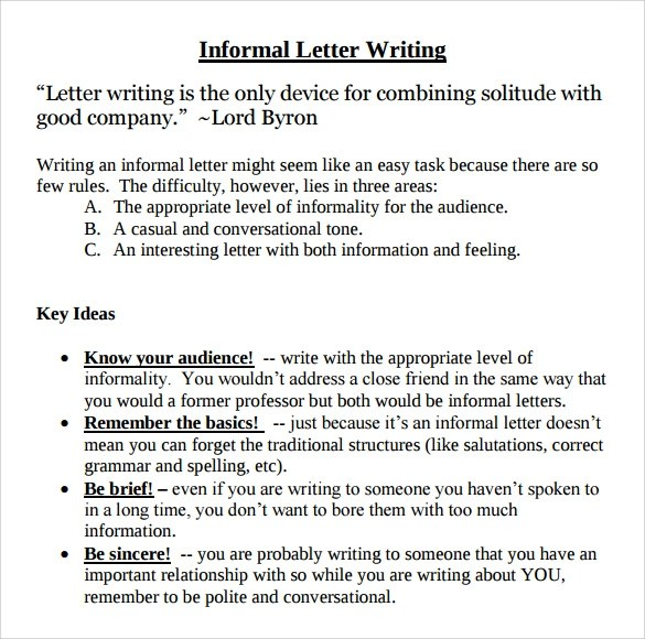 10+ Sample Informal Letters - DOC, PDF