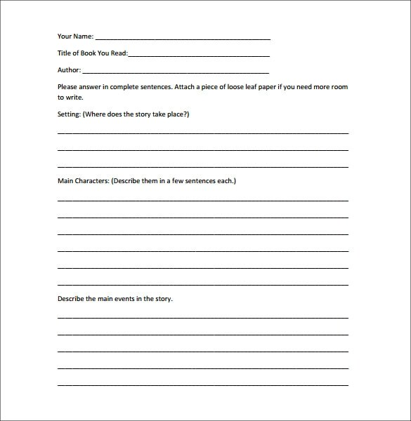 Book Report Template Word  Sample Resume For Teacher With Experience