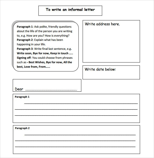 Sample Informal Letter - 7+ Documents in PDF, Word - letter writing template