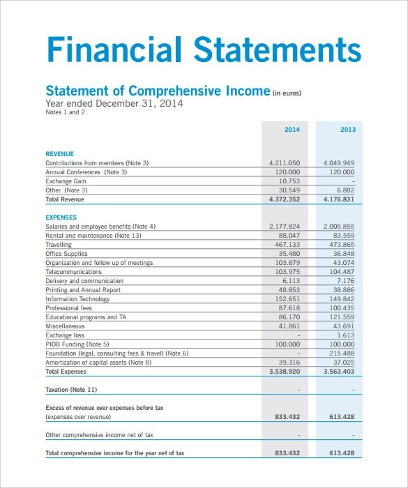 Business Financial Statement Form Pdf  Research Proposal Sample