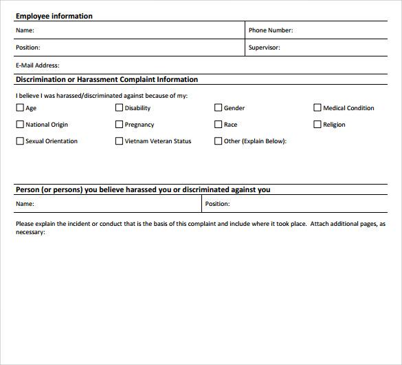 7 Harassment Complaint Forms \u2013 Samples, Examples  Formats Sample