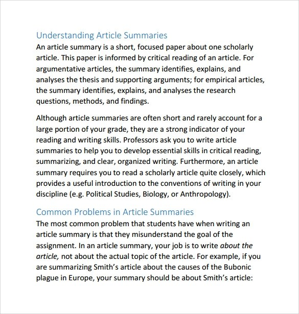 Article Summary Template - 8+ Samples , Examples  Formats
