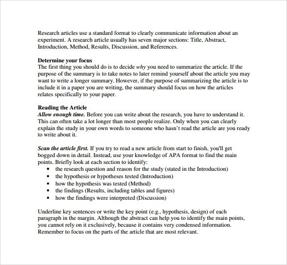 8 Article Summary Templates \u2013 Samples , Examples  Formats Sample - article summary template