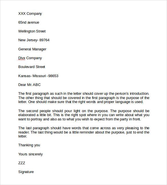 business letter model - Josemulinohouse - business letter