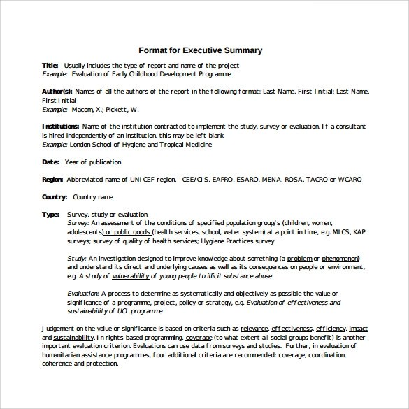 Sample Executive Summary Template - 7+ Free Documents In PDF, Word - executive summary format for project report
