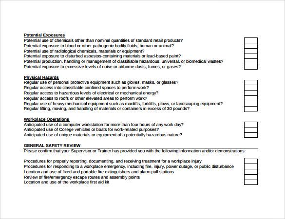 Sample Training Checklist Template - staruptalent -