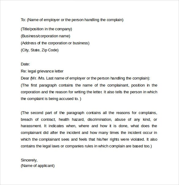 Legal Letter Template -8+ Samples , Examples  Formats