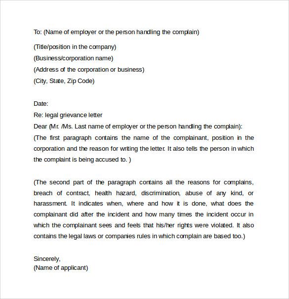 Legal Letter Sample – Sample Grievance Letter
