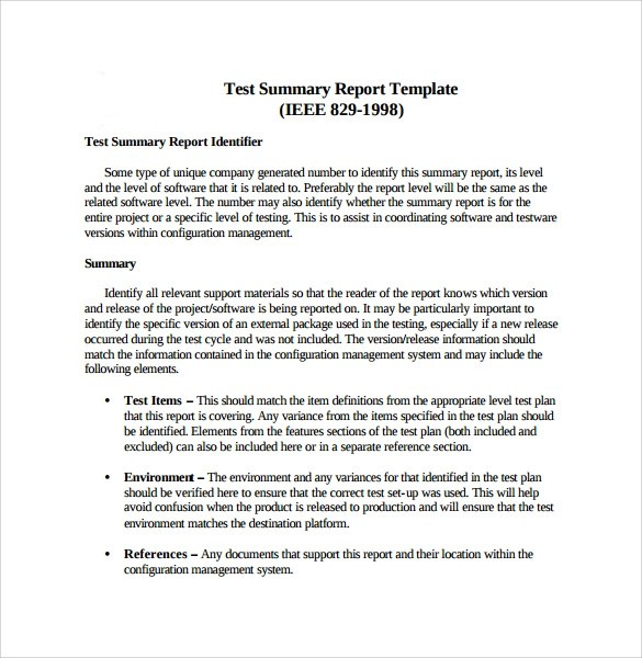 9 Summary Report Templates \u2013 Samples , Examples  Format Sample - the report format