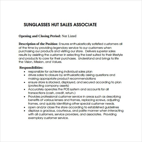 9+ Sales Associate Resumes \u2013 Samples, Examples  Format Sample - sales associate on resume