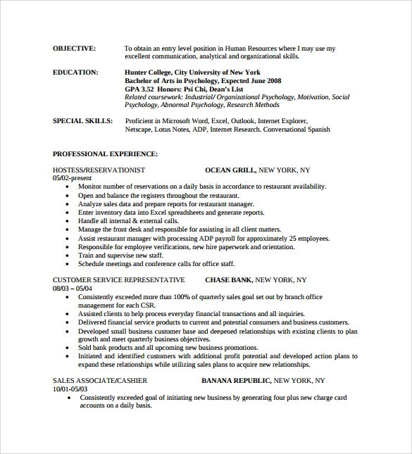sales resume experienced