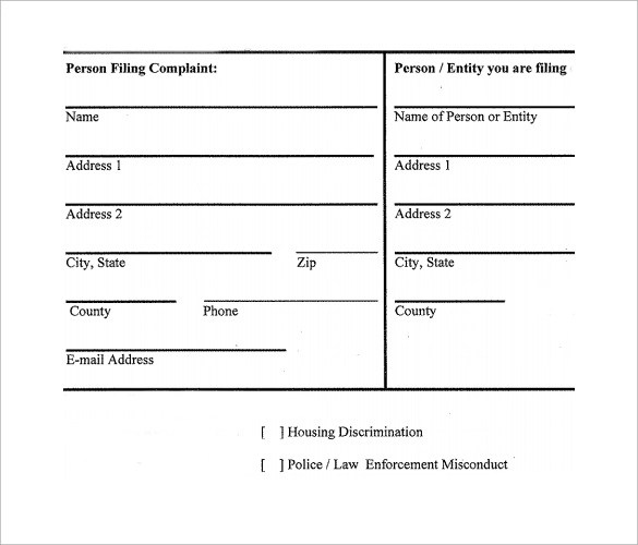 8 Civil Complaint Forms \u2013 Samples , Examples  Formats Sample - sample civil complaint form