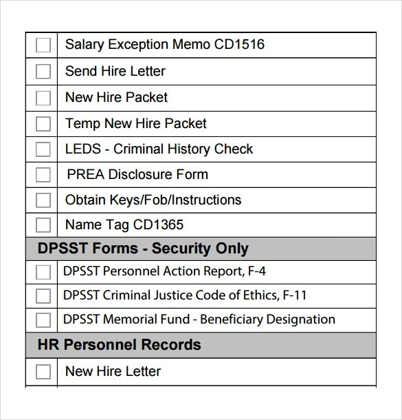 8+ New Hire Checklist Samples Sample Templates