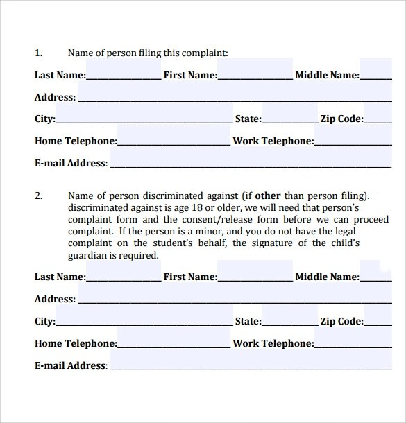8 Civil Complaint Forms \u2013 Samples , Examples  Formats Sample