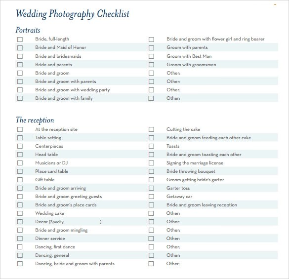 graphic regarding Wedding Photography Checklist Printable called Wedding ceremony Images Record Pdf - Resume Illustrations Resume