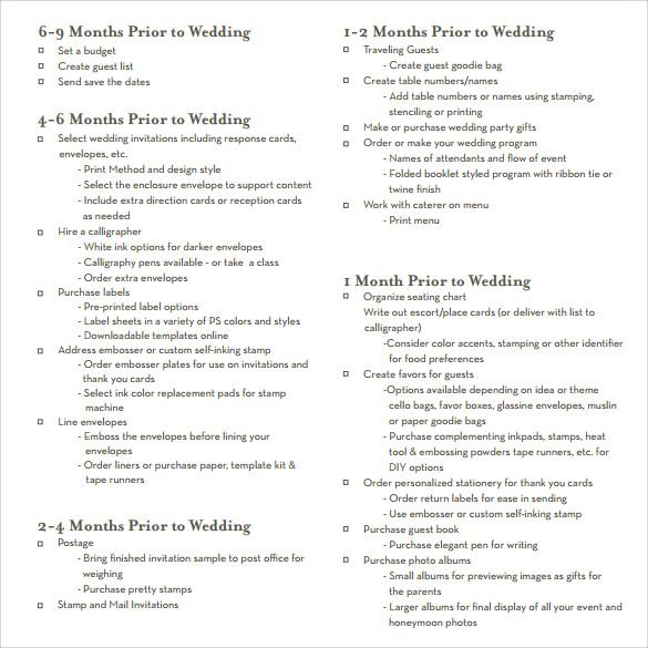 Sample Wedding Planning Checklist Template Blank Wedding Guest - wedding checklist template