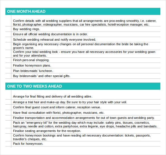 Sample Wedding Planning Checklist - 6+ Documents In PDF, Word