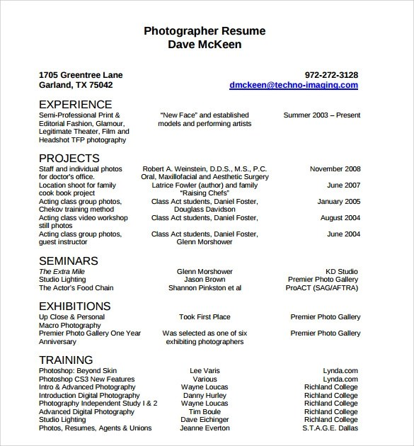 20+ Photographer Resume Template \u2013 Samples, Examples  Format - photography resume samples