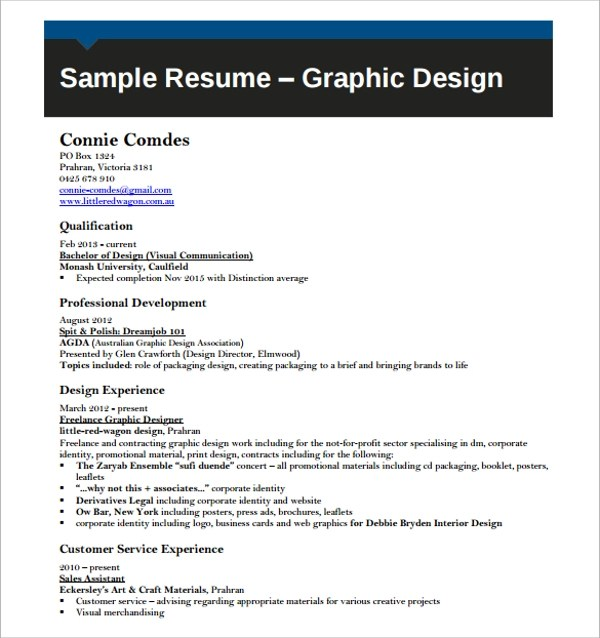 16+ Designer Resume Template \u2013 Samples, Examples  Format Sample