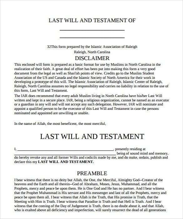 Sample Last Will and Testament Form - 8+ Example, Format - last will and testament form