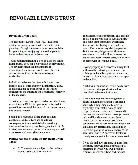 Sample Living Trust Form Template - 10+ Samples, Examples, Format - living trust form