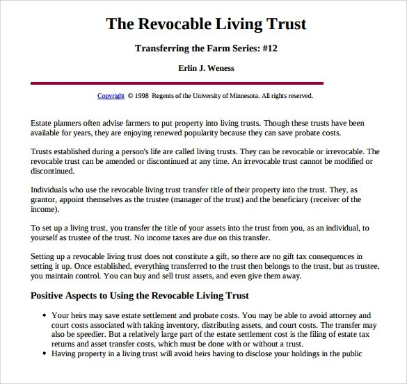 Living Trust Form For California | The Importance Of Resume Updates