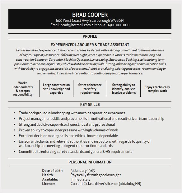 Sample Construction Resume Template - 11+ Free Documents in PDF, Word - resume outlines