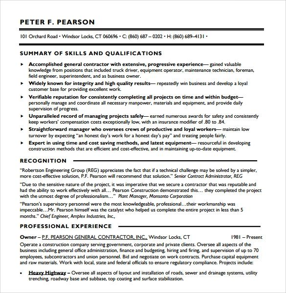 contractor resume sample