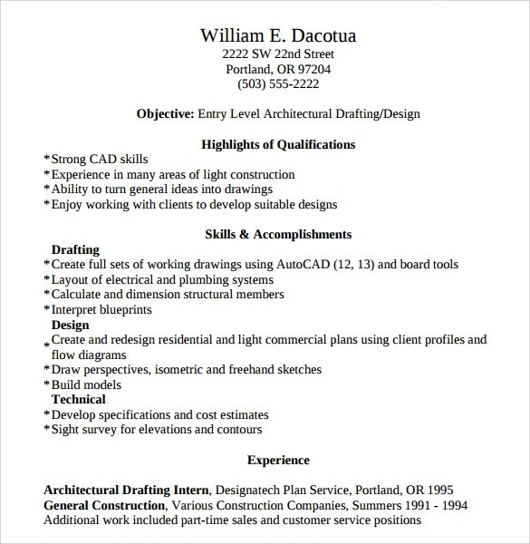 Professional Paraphrasing Service BritishEssayWriter designer - Sample Autocad Drafter Resume