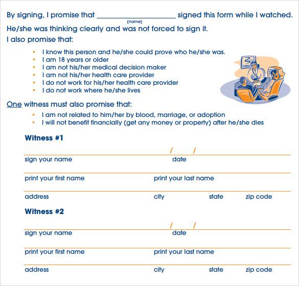 Advance medical directive form - sample advance directive form