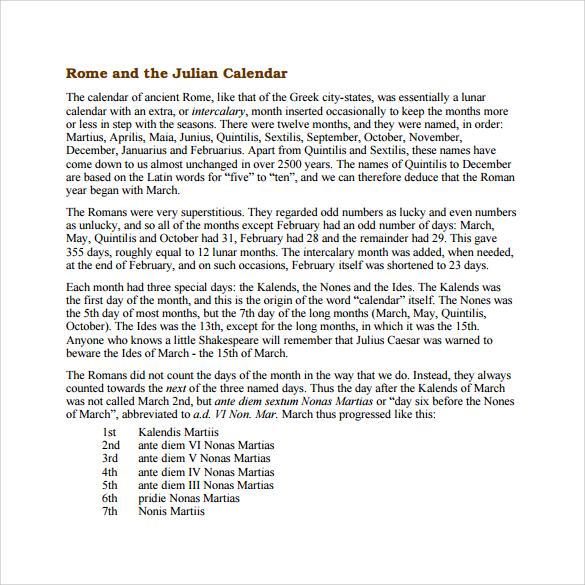 Julian Calendar Chart | ophion.co