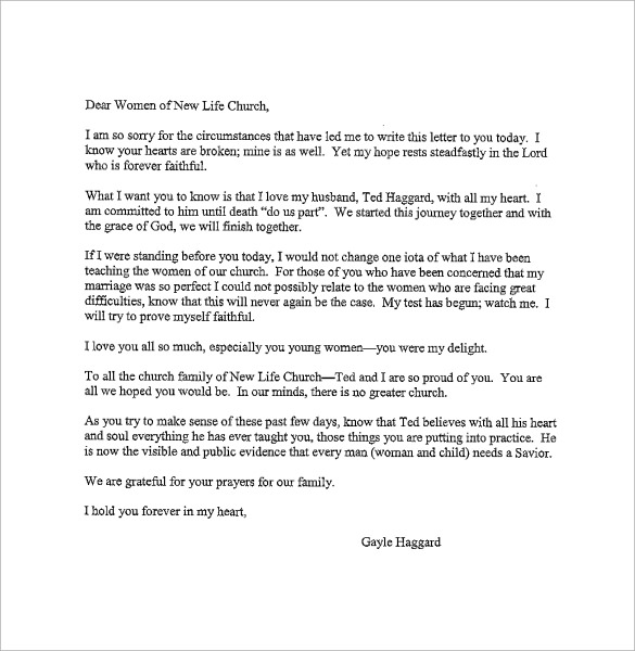 Apology Letter Sample Pdf ~ ANAXMEN - apology letter to family