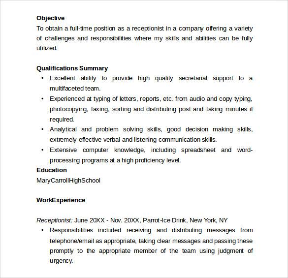 basic resume for receptionist
