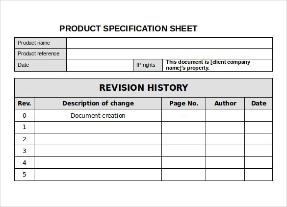 12+ Specification Sheet Samples Sample Templates