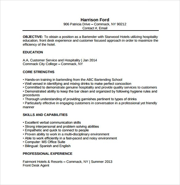 Sample Bartender Resume Template - 8+ Download Free Documents in PDF