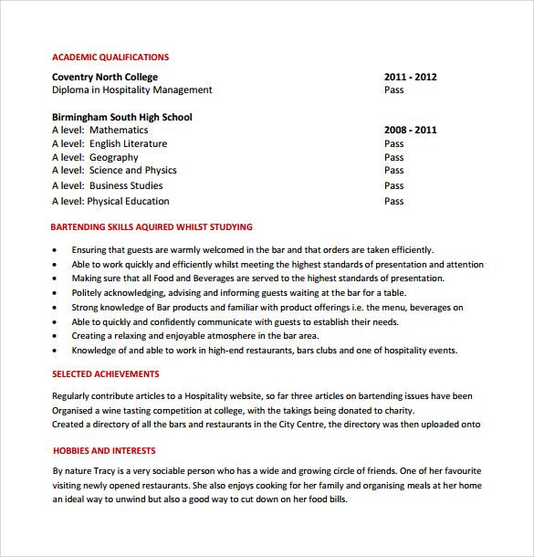 Sample Bartender Resume Template - 8+ Download Free Documents in - free bartender resume templates