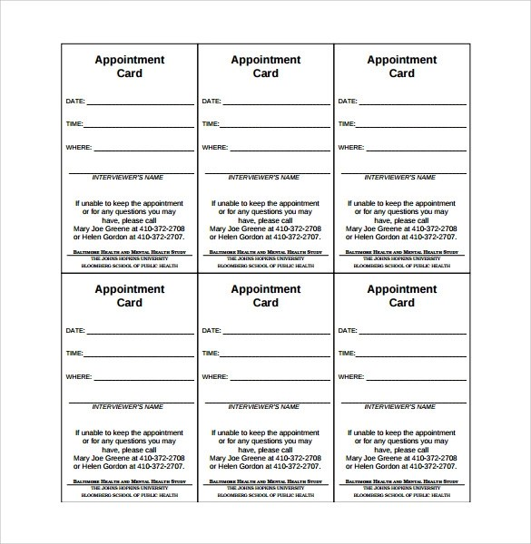 9+ Sample Appointment Cards Sample Templates
