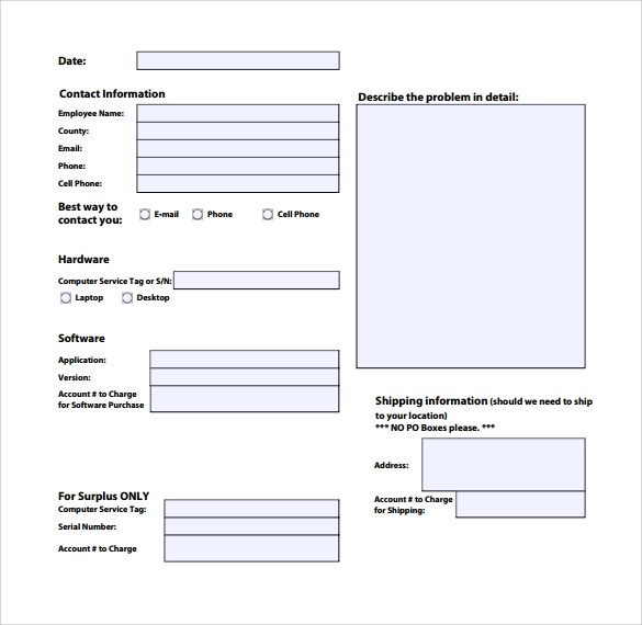 13 Computer Service Request Form Templates to Download Sample - shipping form templates